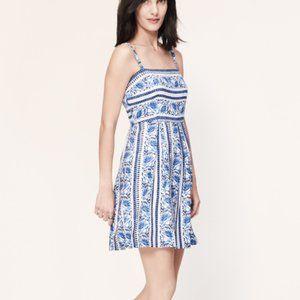 Loft Blue White Floral Summer Dress Petite